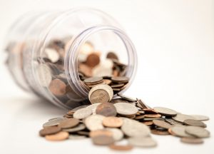 coins inside the bottle
